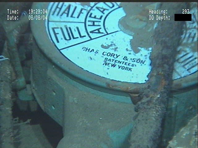 Indicator dial on one of Robert E. Lee's telegraphs as imaged during the 2004 Deep Wrecks project.